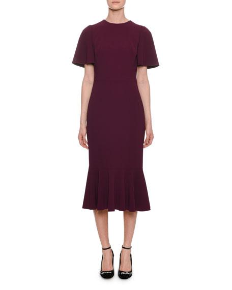 Flutter-Sleeve Cady Sheath Dress in Pink