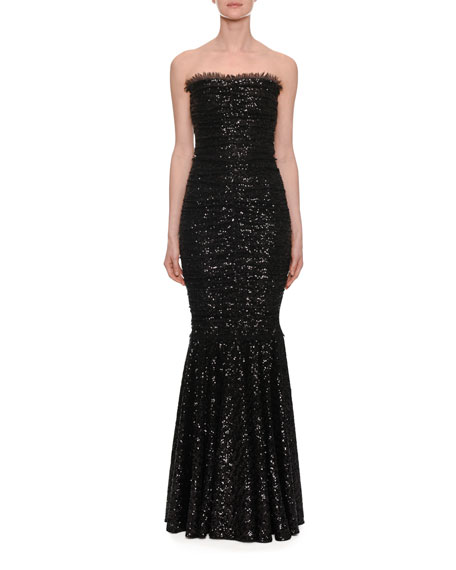 Strapless Fishtail Sequin-Embellished Gown in Black