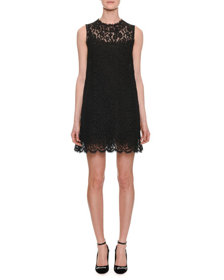 High-Neck Sleeveless Lace Shift Dress, Black
