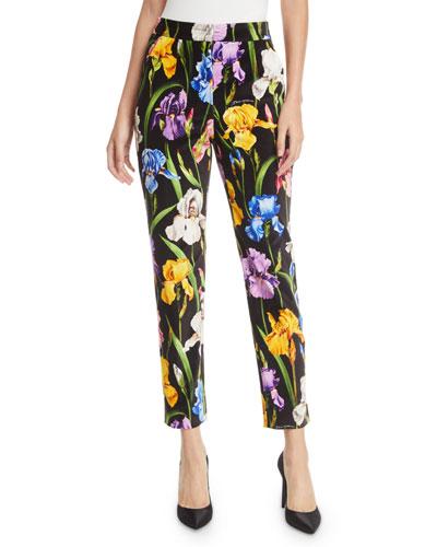 Iris-Print Straight-Leg Velvet Ankle Pants