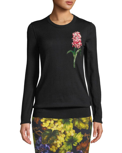 Crewneck Long-Sleeve Wool Pullover Sweater w/ Floral Applique
