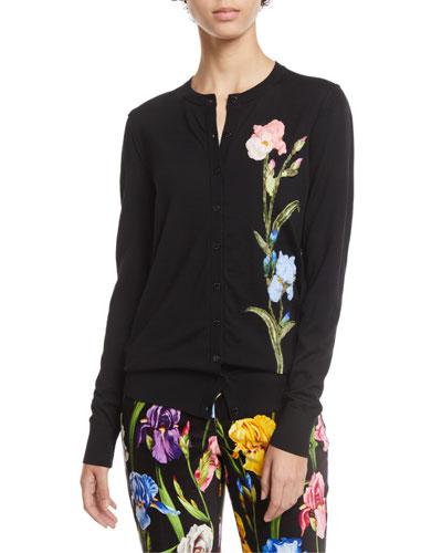 Button-Front Crewneck Wool Cardigan w/ Floral Applique