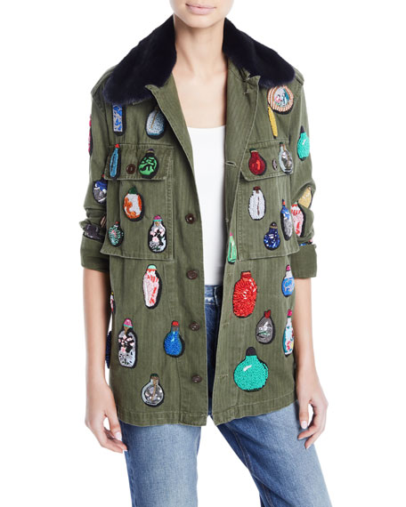 Libertine Button-Front Cotton Jacket w/ Beaded Ornament Detail