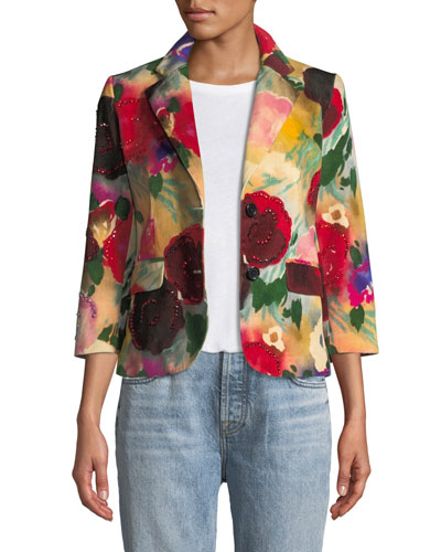 Two-Button Multi Floral-Print Blazer w/ Crystal Beaded Trim