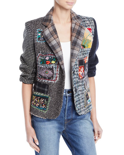 Multimedia Tweed Patchwork Blazer