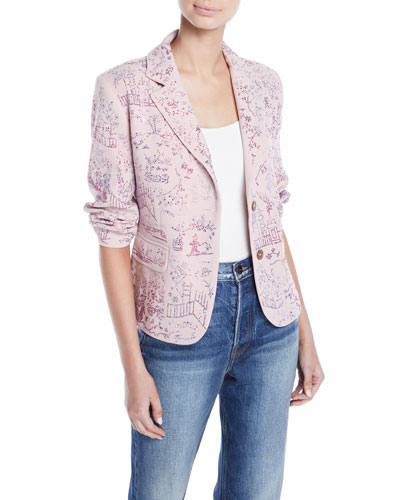 Two-Button Crystal-Beaded Chinoserie Short Blazer