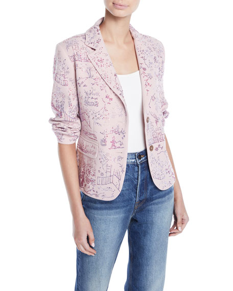 LIBERTINE TWO-BUTTON CRYSTAL-BEADED CHINOSERIE SHORT BLAZER