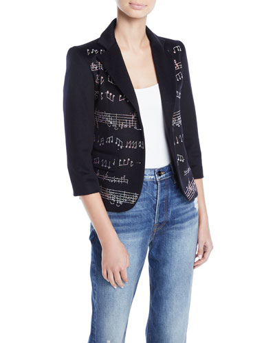 Music-Note Crystal-Beaded Two-Tone Blazer