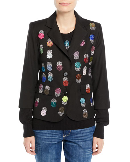 Single-Breasted Multicolor Beaded-Dots Wool Blazer