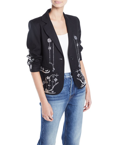 Crystal-Embellished Wool Blazer