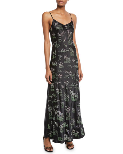 Chinoiserie Crystal-Embellished Cami Slip Dress