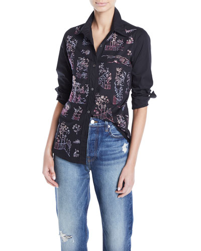 Chinoiserie Crystal Embellished Collared Top