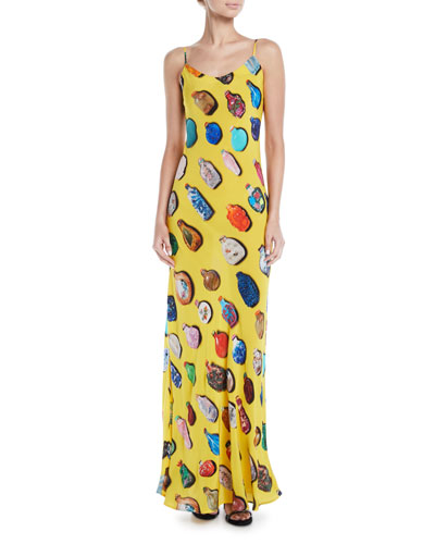 Bottle-Print Spaghetti-Strap Silk Slip Dress