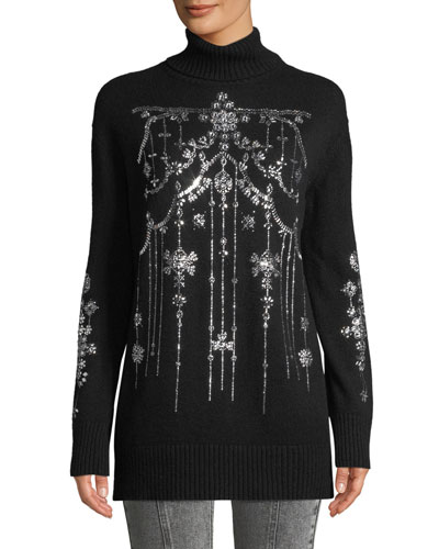 Turtleneck Chandelier-Encrusted Oversized Cashmere Sweater