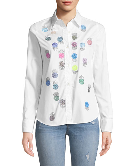 LIBERTINE BUTTON-FRONT COLLARED MULTICOLOR BEADED-DOTS COTTON SHIRT