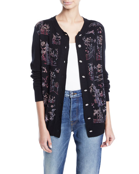 Chinoiserie Crystal Embellished Cashmere Cardigan