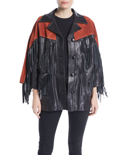 Grainy Leather Jacket with Suede Fringe & Studded Guccy on Back