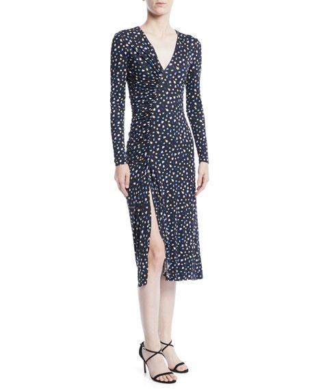 V-Neck Long-Sleeve Floral-Print Jersey Dress