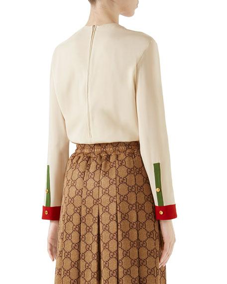 e89e782074e1c8 Gucci Long-Sleeve Button-Front Colorblock Silk Blouse
