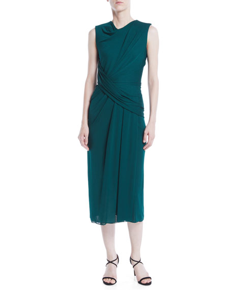 Draped Cowl Neck Dress: Jason Wu Cowl-Neck Sleeveless Crepe Jersey Draped Sheath Dress