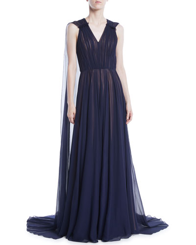 V-Neck Sleeveless Silk Crinkle Chiffon Evening Gown w/ Cape