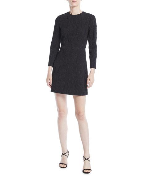 JASON WU 3/4-Sleeve Cloque Jacquard Daytime Mini Dress in Black