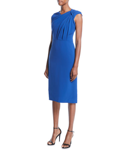 Twist-Shoulder Sleeveless Stretch-Crepe Sheath Dress
