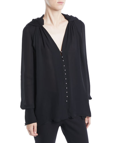 V-Neck Button-Front Silk Georgette Blouse