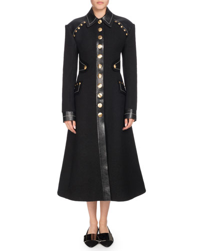 Single-Breasted Boucle Studded Long Coat w/ Leather Panels