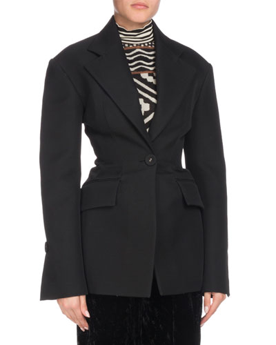 One-Button Notched-Lapel Long-Sleeve Wool-Blend Jacket