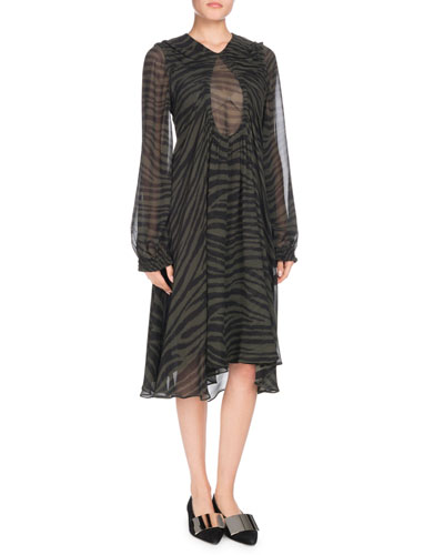 Keyhole-Front Long-Sleeve Tiger-Print Chiffon Dress