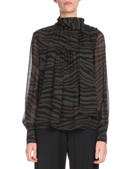 Tie-Neck Long-Sleeve Tiger-Print Chiffon Blouse