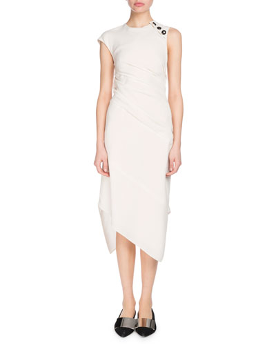 Cap-Sleeve Textured Crepe Asymmetric Midi Dress