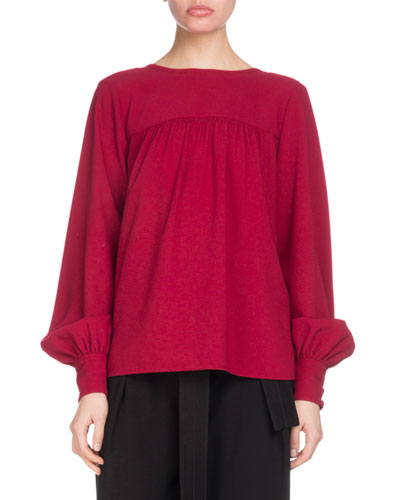 Tieback Long-Sleeve Flowy Textured Crepe Top