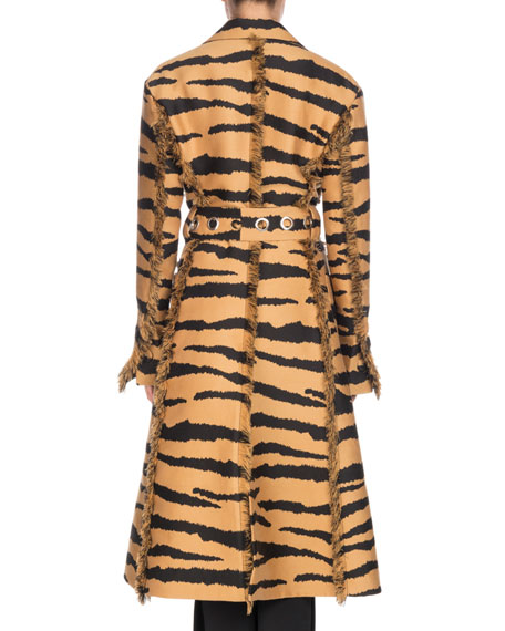 Wrap Button-Front Belted Tiger-Jacquard Long Coat w/ Fringe