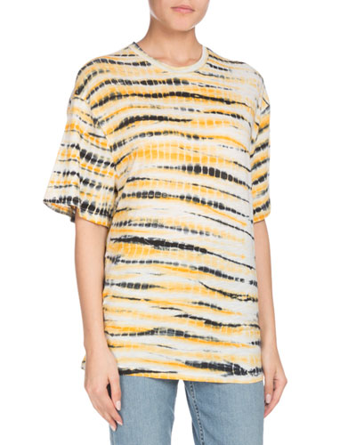 Crewneck Short-Sleeve Multi Tie-Dye Tissue Jersey