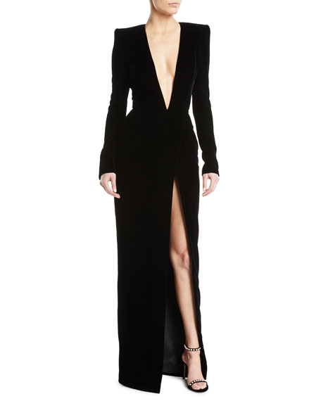 Alexandre Vauthier Plunging Long-Sleeve Velvet Wrap Evening Gown