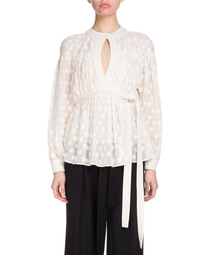 Long-Sleeve Keyhole Wrap Fil Coupe Chiffon Blouse