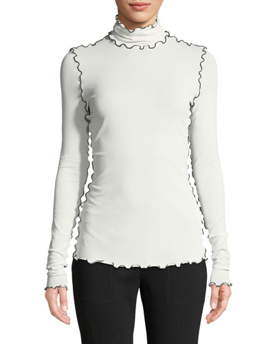 Turtleneck Long-Sleeve Wavy-Topstitch Stretch Crepe Jersey Top