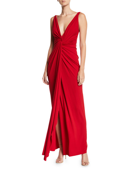 Alexandre Vauthier Deep V-Neck Twisted Jersey Gown
