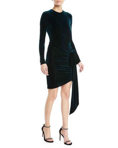 Long-Sleeve Velvet Jersey Tie-Waist Wrap-Bottom Mini Cocktail Dress
