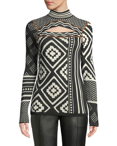 Sheer Mixed-Jacquard Knit Turtleneck Sweater w/ Cutout Detail