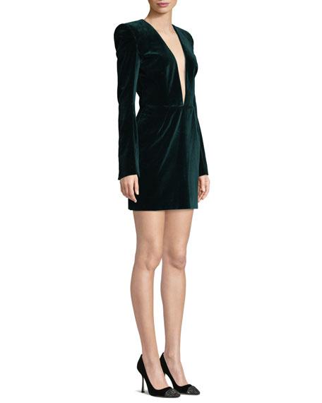 Plunging Long-Sleeve Velvet Cocktail Dress