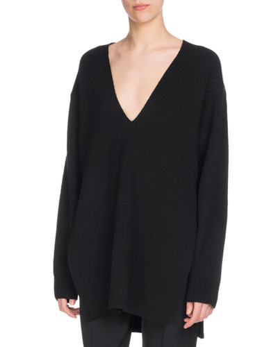 V-Neck Long-Sleeve Wool Silk-Cashmere Tunic Sweater