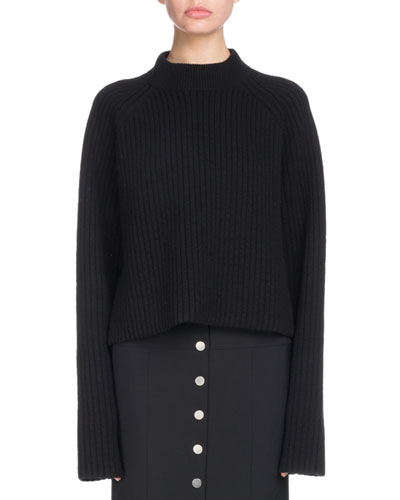 Crewneck Long-Sleeve Cropped Ribbed Cashmere-Blend Sweater