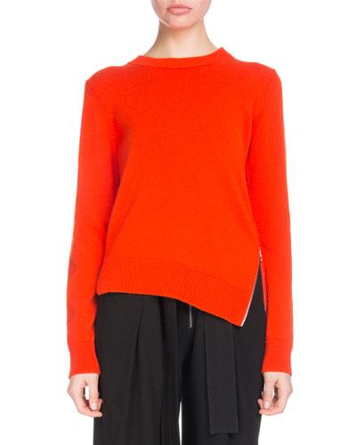 Crewneck Long-Sleeve Asymmetric Zip-Hem Cashmere-Blend Sweater
