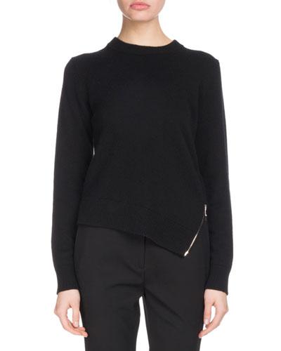 Crewneck Long-Sleeve Asymmetric Zip-Hem Wool-Blend Sweater