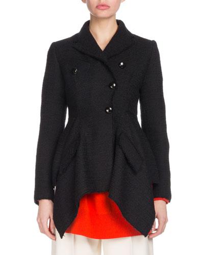 Asymmetric Button-Front Cotton Tweed Jacket