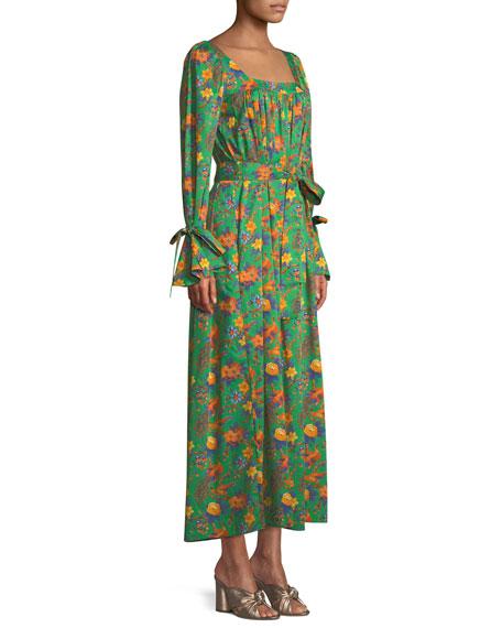 After Swim Square-Neck Long-Sleeve Floral-Print Cotton Maxi Dress