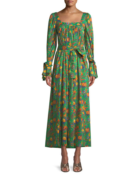 DOUBLE J AFTER SWIM SQUARE-NECK LONG-SLEEVE FLORAL-PRINT COTTON MAXI DRESS